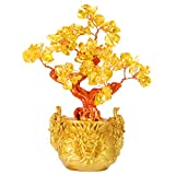 Lamoutor Chinese Money Tree Decorations Feng Shui Money Tree Yellow Crytal Money Tree with Chinese Dragon Pots