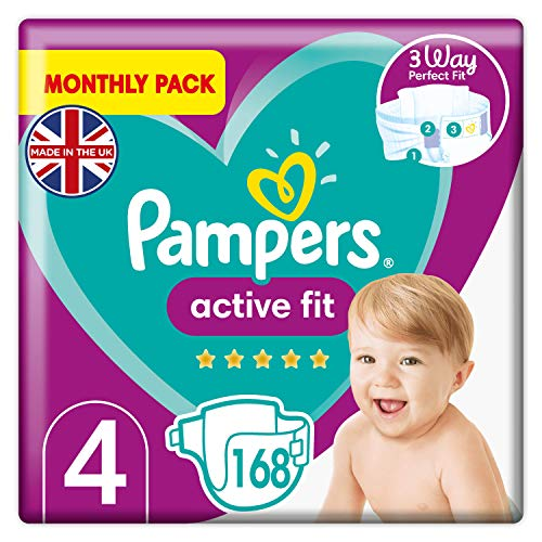 Pampers Babywindeln, Größe 4 (9–15 kg), Active Fit getapte Babywindel, Monatspackung, 168 Stück