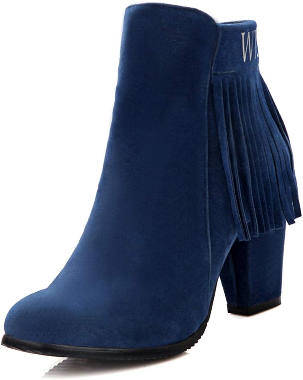 HOESCZS nagelneu Groe Gren 31-43 Schuhe Frau Fransen Stiefel Mode High Heels Stiefeletten Damen Schuhe Stiefel,