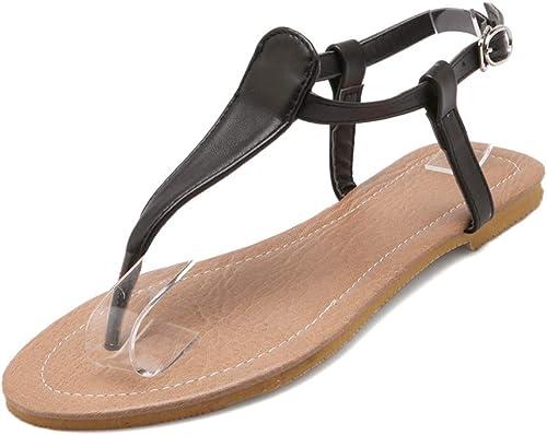 HTJL Sandales à Talons Plats en Cuir pour Les Les Les Les dames Chaussures décontractées pour Les Les dames, Ceinture en Boucle,b,52 30c