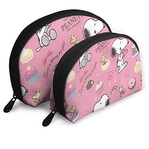 Sac de Maquillage Snoopy Rose Sacs de Voyage Petit Sac à Coque Sac de Toilette Portable Pochette 2Pcs