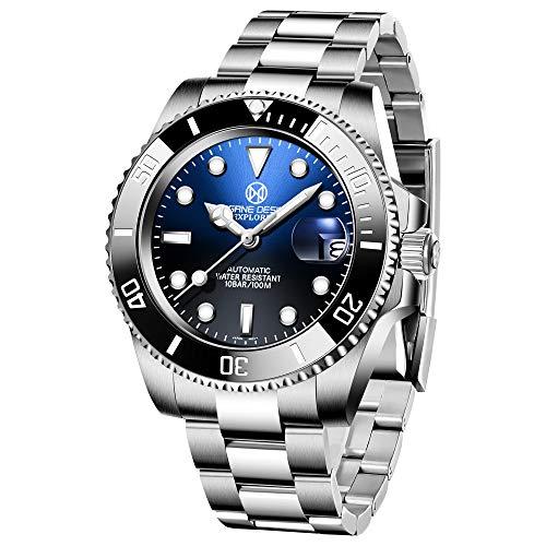 PAGRNE DESIGN Reloj Hombre Automatico Analógico Impermeable Elegante Relojes Hombre con Correa de Acero Inoxidable (Negro)