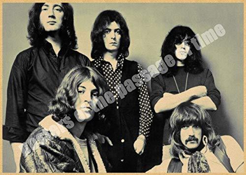 Deep Purple Hauptlieferungsdekoration Kraft Rockmusik Poster Zeichnung Kern Wandaufkleber 42X30 Cm Silber