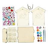 Sharplace SparkJump Jr - Kit de Casita para Pájaros con Juego de Pintura, Manualidades para Bricolaje, Construcción de Carpintería