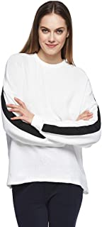 Bershka Pullover Top For Women - Black/White, Size Medium