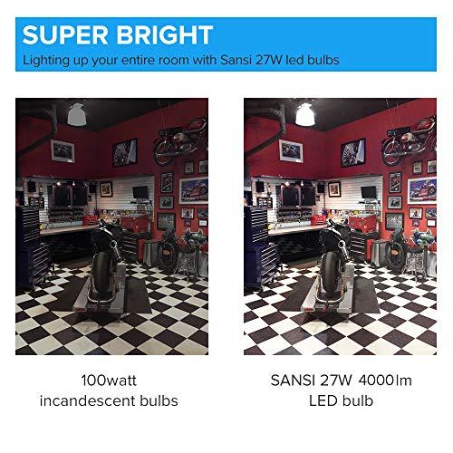 [Upgrade] 27W (250 Watt Equivalent) A21 Omni-Directional Ceramic LED Light Bulbs, 4000 Lumens, 5000K Daylight, E26 Medium Screw Base Floodlight Bulb, Home Lighting, Non-dimmable, SANSI (2 Pack)