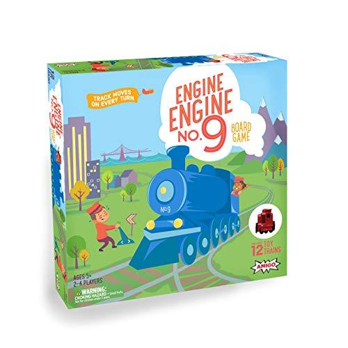 AMIGO Games Engine Engine No. 9 Kids Board Game with 12 Toy Trains