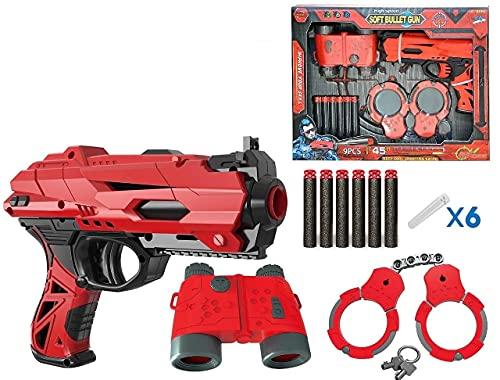 FUN FUN Pubg Theme High Speed Manual Soft Bullet Gun, Twin Mini Gun with Foam Bullets,Telescope Target Shooting Role Play Game for Kids/Boys/Children/Toy Gun Pistol for Kids,Fj-926 Multicolor