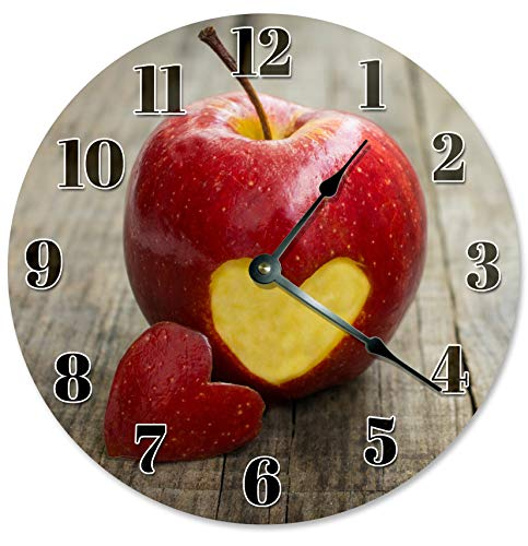 Sugar Vine Art Apple Cut With Heart Silent Non Ticking Round Battery Operated Handmade Hanging Large10.5 Inch Wall Clock for Bedroom Office Cottage Decoration