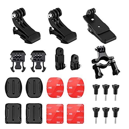 BOYISEN Kit de Repuestos para Monturas de Cámara GoPro 7/6/5/4/3+/3/2/1, Xiaomi SJ4000 SJ5000, AKASO Crosstour Apeman, 18 en 1 Kit de Accesorios para cámaras de Deportes de acción, Negro
