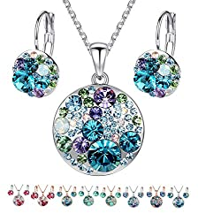 "Leafael Ocean Bubble Women's Jewelry Set Made with Swarovski Crystals Costume Fashion Pendant Necklace Earring Set, Silver Tone or 18K Rose Gold Plated, 18"" + 2"", Gifts for Women"