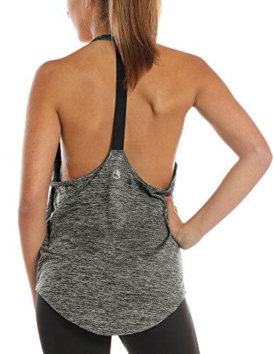icyzone Femmes Débardeurs de Sport sans Manches en Vrac Fitness Yoga Tank Tops (M, Charcoal)