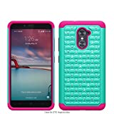 Galaxy Wireless Compatible for ZTE Grand X Max 2 / ZTE Imperial Max/ZTE Max Duo LTE Case [Shock Absorption/Impact Resistant] Hybrid Dual Layer Armor Defender Protective Case Cover, (Teal/Hot Pink)