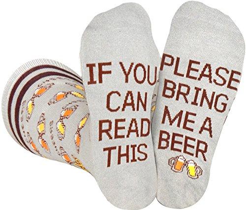 Saucey Socks Grey Bring Me Beer Socks, Luxury cotton unique CHEERS designs,...