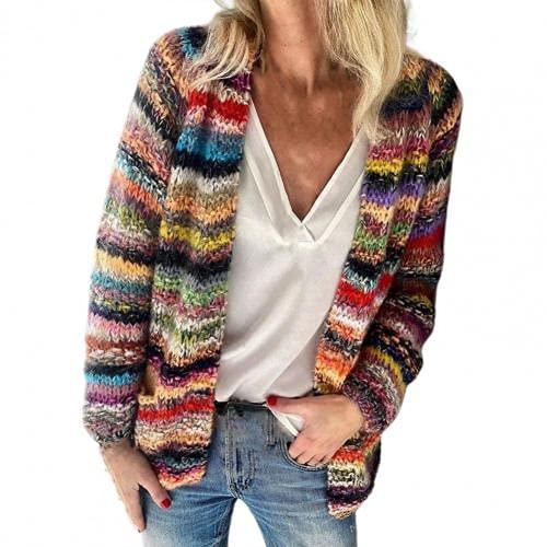 Suéter para mujer con rayas de arco iris, temperamento, otoño, invierno, manga larga, chaqueta de punto para oficina y ropa de mujer 2021 xxxl (color: rojo, tamaño: M)