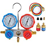 Juego de manómetros de diagnóstico HVAC AC para refrigerantes R134A R410A y R22, herramienta de reparación de aire acondicionado de coche