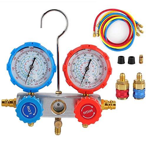 Medidor de presión de refrigerante, medidor de alta/baja presión de refrigerante Manómetros de diagnóstico Conjunto de rep. De aire acondicionado para automóvil Se adapta a refrigerantes R134A R410A y