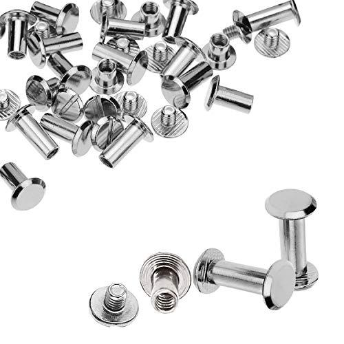 Trimming Shop Lot de 10 rivets à vis Chicago à tête plate Argenté 9 x 13 mm