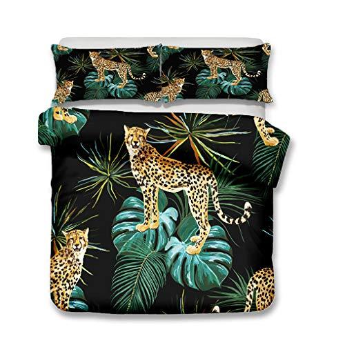 HNHDDZ Jugendliche Bettwäsche-Set Tropisches Tier Pflanze Leopard Tukan Papagei Blatt Sommer- Bettbezug Reißverschluss Schwarz Grün (Stil 1,Bettbezug 135x200 cm + 1 Kissenbezug 80x80 cm)