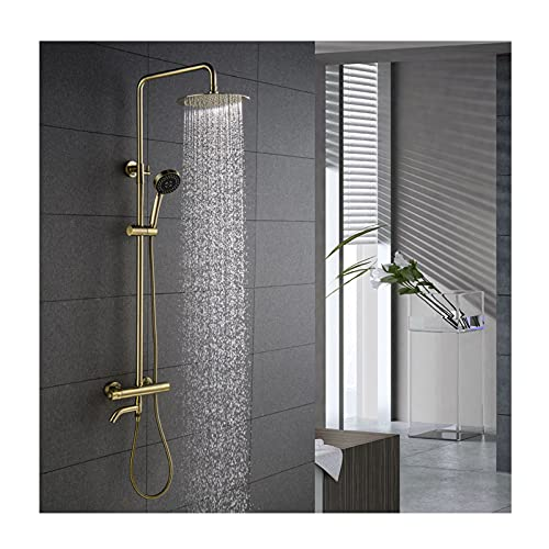 HAUSELIEBE Termostatica Sistema de Ducha para Baño Familiar, Oro Cepillado Anti Escaldaduras Conjunto de Ducha con 3-Funcional Ducha de Mano