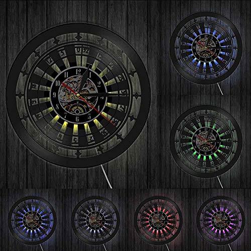 Reloj de pared de casino con diseño de sala de juegos de azar y decoración de pared de vinilo discográfico Las Vegas 777 juego de póquer juego de cartas de ruleta reloj luces LED