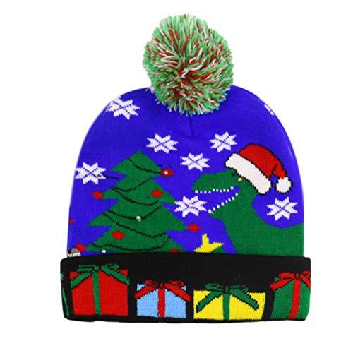 Petty Well Gorro navideño con luz LED, gorro de punto, gorro de punto para niños