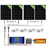ECO-WORTHY Kit de panel solar de 480 W con cuadrícula apagada: 1500 W 24 V Pure Sine Inverter + 4 piezas 120 W Panel solar de policristalina + 60 A controlador de cargador de batería