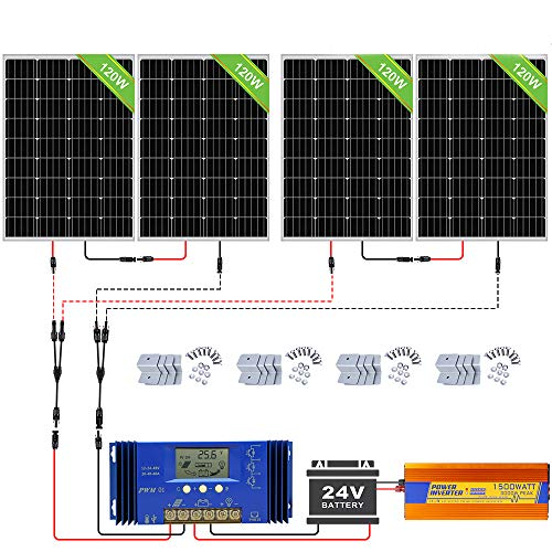ECO-WORTHY 480W Off Grid Solarmodul Kit: 1500W 24V Wechselrichter + 4 PCS 120W Solarpanel + 60A Batterieladeregler für Home Boot RV