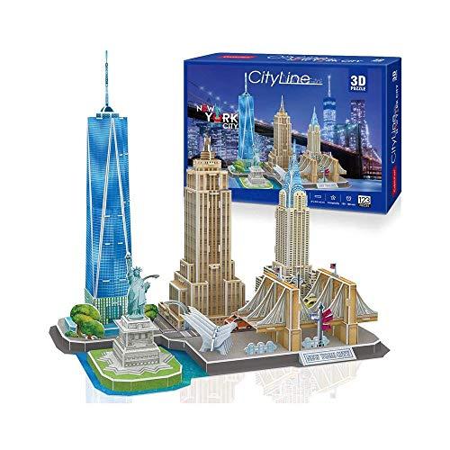 LKNJLL 3D Puzzles Adultos Newyork Cityline Arquitectura la construcción de modelos kits Colección Juguetes regalo del recuerdo for hombres y mujeres, estatua de la libertad, el Empire State Building,