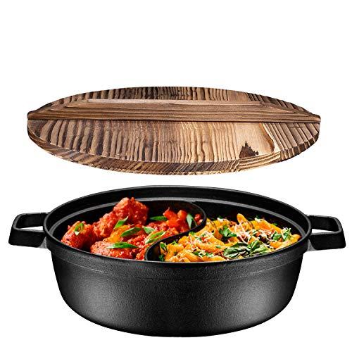 PreSeasoned 2In1 Cast Iron Shabu Shabu Hot Pot with Wooden Lid Heavy Duty 3 Quart Dutch Oven Skillet and Lid Set