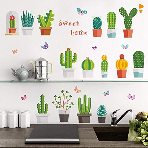 QTYUE Cactus Bloempot Muurstickers voor Woonkamer Bed Kamer Klas Badkamer Muurdecoratie Verwijderbare Vinyl Art muurstickers