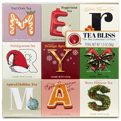 Thoughtfully Gifts, Tea Variety Gift Set, Includes 9 Delicious Tea Flavors Like Berry Hibiscus, Orange Spice, Spiced Holiday, Apple and Cinnamon and More, Set of 9