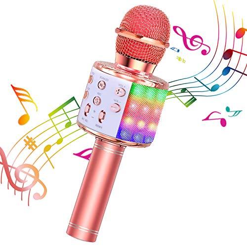 ShinePick Microfono Karaoke, 4 in 1 Bluetooth Wireless LED Flash Microfono Portatile Karaoke Player con Altoparlante per Android iOS, PC e Smartphone(Oro Rosa)