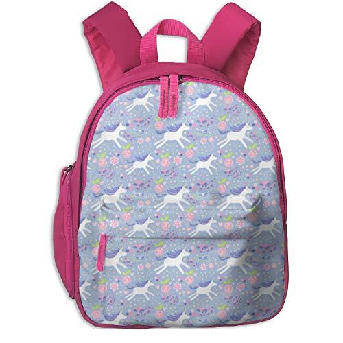 Kinderrucksack mädchen,Einhorn Floral Blau Violett Und Pink Hell Pastel_4327 - mainsail_Studio, Für Kinderschulen Oxfordstoff (pink)