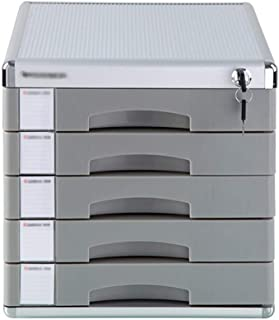 KANJJ-YU Tiroir de bureau Sorter 5 couches en alliage d'aluminium de type tiroir de verrouillage de stockage de données Bu...