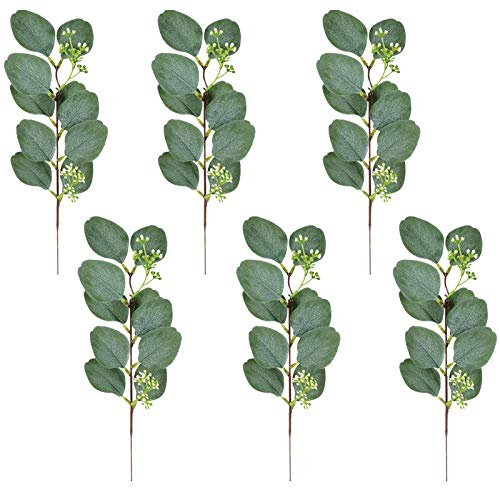 Feel-ling 6PCS Artificial Eucalyptus Leaves, Wild Jungle Decorative Botanical Greenery, For Farmhouse Wedding Party Decor Floral Arrangement Decoration