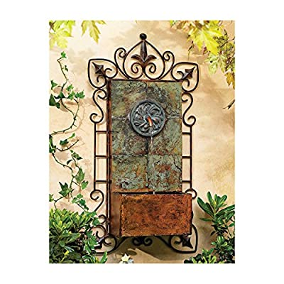 """Lamps Plus Ibizi Rustic Outdoor Wall Water Fountain with Light LED 33"""" High Medallion for Yard Garden Patio Deck Home Hallway Entryway - John Timberland"""