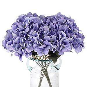 Louiesya Artificial Flowers Silk Hydrangea Flowers with 5 Big Heads Fake Flower Bunch Bouquet for Home Wedding Party Decor DIY (Purple)