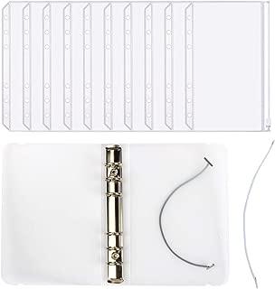 KisSealed 12pcs Plastic Clear Binder Envelopes Loose Leaf Bags Budget Envelope System with 1pcs 6 Hole Round Ring Binder Cover for Work,Office (A6)