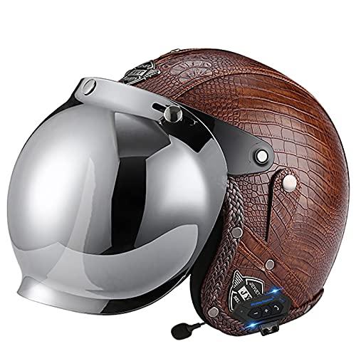 Casco retro de cuero PU aprobado por DOT/ECE casco Bluetooth para moto 3/4 moto Chopper Casco para bicicleta Casco jet Casco retro para moto G,L~59-60cm