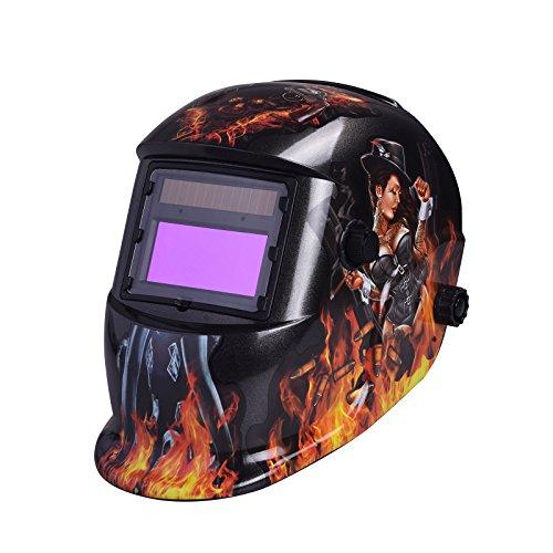 Nuzamas Masque de soudage auto-obscurcissant à énergie solaire Protection du visage pour arc TIG MIG Coupe plasma avec plage de réglage DIN4/9–13 Protection UV/IV DIN16 Girl On Fire
