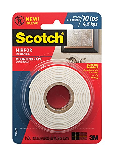 Scotch Mounting, Fastening & Surface Protection 051141402895 Scotch Mirror Mounting Tape, x 60-inches, White, 1-Roll (515P), 1, Original Version
