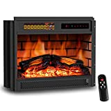 LIFEPLUS 23' Electric Fireplace Insert Infrared Quartz Recessed Heater with Remote Control 12h Timer with Log Flame Effect LED Display Adjustable Thermostat Overheat Protection for Office and Home