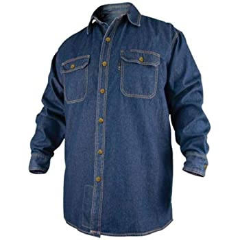 Revco FS8-DNM-XL X-Large Denim Fire Resistant Long Sleeve Cotton Welding Shirt