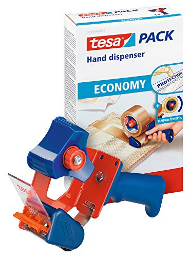 tesa Packband Handabroller ECONOMY - robuster Abroller für Paketbänder - Profi-Qualität - Für Klebebänder mit bis zu 50 cm Breite