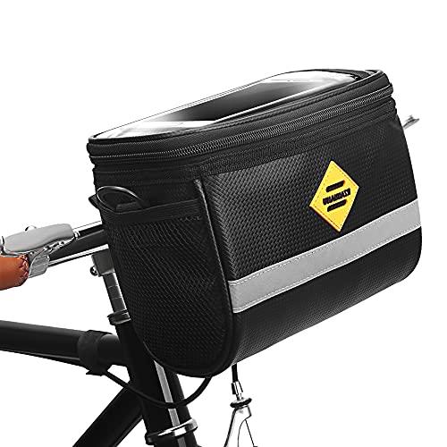 FSYEU Fahrrad Lenkertasche, Multifunktional Fahrradtasche Lenker, Wasserdichtes Fahrrad Vordertasche, MTB Lenkertasche, mit Transparentem PVC-Sichtfenster und abnehmbarem Schultergurt