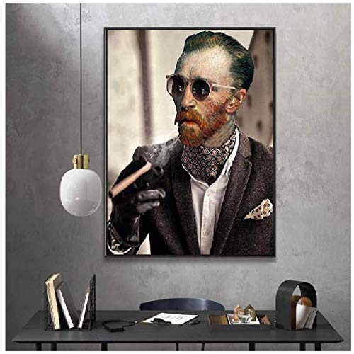 Funny Art Van Gogh with Sunglasses Smokes A Cigar Posters and Prints Canvas Paintings Wall Art Pictures for Living Room Decor no frame