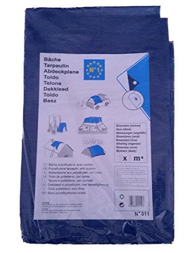 Dekzeil, afdekzeil, beschermzeil, bootzeil, houten zeil, 2 x 8 m snijmaat (Ca - 5 Proz. blauw/blauw/groen.