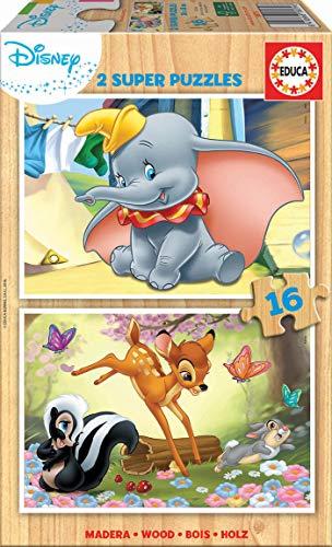 Educa- Disney Animals : Dumbo y Bambi 2 Puzzles Infantiles de Madera ecológica de 16 Piezas, a Partir de 3 años (18079)