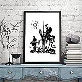 Cuadro de Pared 40x60 cm Sin Marco Póster de Pablo Picasso Don Quijote Lienzo Pintura Sala de Estar Decoración del hogar Mural Cuadro en Blanco y Negro